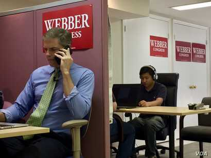 New Jersey Assemblyman Jay Webber, left, calls Republicans,  urging them to vote in the November midterms. Weber is in a competitive race in a district that is traditionally Republican, but this year's outcome could depend on women voters. (C. Pres...