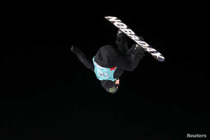 Silver medalist Max Parrot from Canada at the X Games Men's Big Air Snowboard finals, Hafjell, Norway, March 11, 2017.