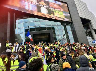 A recent yellow vest rally in front of the Bastille Opera house in Paris - the movement could potentially steal EU votes from France's far right if it runs in EU parliament elections.