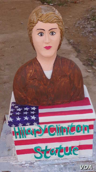 The sculpture of Hillary Clinton took Shir Hussain Hoaida 30 days to create. Hoaida is serving a six-year sentence at Daikondi Province jail in Afghanistan. (Z. Bamyani/VOA)