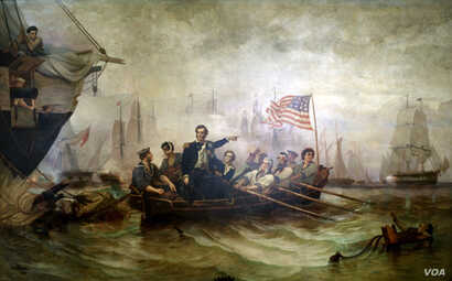 """This 1865 painting Perry's Victory on Lake Erie by artist William Henry Powell depicts the moment when Captain Oliver Hazard Perry made his way from the destroyed battleship Lawrence to the Niagara. It inspired the phrase """"Don't give up the ship...."""