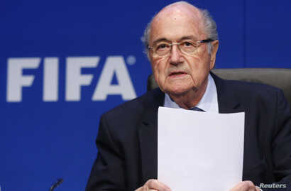 Re-elected FIFA President Sepp Blatter arrives for a news conference after an extraordinary Executive Committee meeting in Zurich, Switzerland, May 30, 2015.