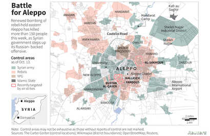 Map showing control areas around the Syrain city of Aleppo, as of Oct. 13, 2016