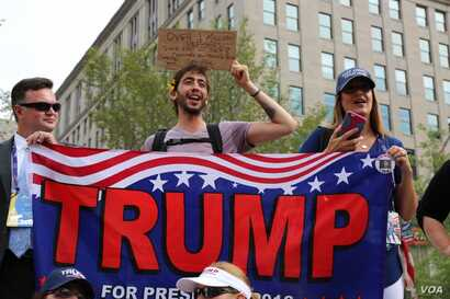 Donald Trump supporters face off with anti-Trump protesters at the Republican National Convention in Cleveland,  July 21, 2016.