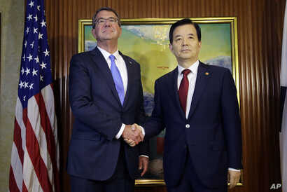 U.S. Defense Secretary Ash Carter, left, shakes hands with South Korea's Defense Minister Han Min Koo during their bilateral meeting on the sidelines of the 15th International Institute for Strategic Studies Shangri-la Dialogue, or IISS, Asia Securit