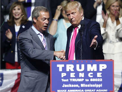 Trump The Brexit Effect: FILE - This is a Wednesday, Aug. 24, 2016  file photo of Republican presidential candidate Donald Trump, right, welcomes pro-Brexit British politician Nigel Farage, to speak at a campaign rally in Jackson, Miss. Britain's vot