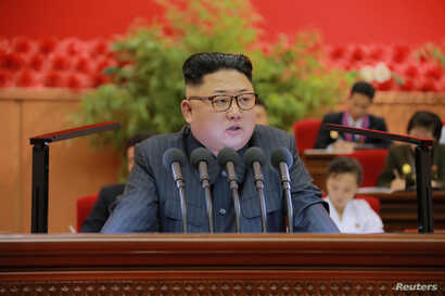 North Korean leader Kim Jong Un gives a speech at the 9th Congress of the Kim Il Sung Socialist Youth League in this undated photo released by North Korea's Korean Central News Agency (KCNA) in Pyongyang on Aug. 29, 2016.