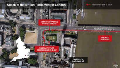 Locator Map of the Attack at the British Parliament in London