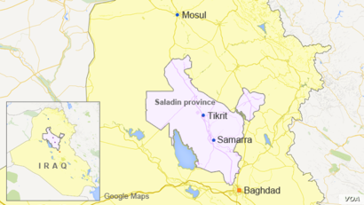 Map of Iraq showing Tikrit and Samarra in Saladin province