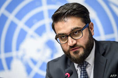 "FILE - Afghan National Security Adviser Hamdullah Mohib is pictured at a press conference in Geneva, Nov. 28, 2018. He told reporters in Washington on March 14, 2019, that the U.S. peace strategy in Afghanistan was ""ostracizing and alienating"" the Af"