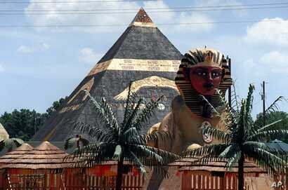FILE – This July 5, 1999 shows a 40-foot pyramid at a 476-acre compound in Eatonton, once home to a group calling itself the Yamassee Native American Nuwaubians and bulldozed in 2005, after their leader was convicted of child molestation and racket...