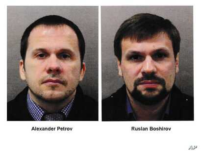 This combination photo made available by the Metropolitan Police on Wednesday Sept. 5, 2018, shows Alexander Petrov, left, and Ruslan Boshirov. British prosecutors have charged two Russian men, Alexander Petrov and Ruslan Boshirov, with the nerve age...