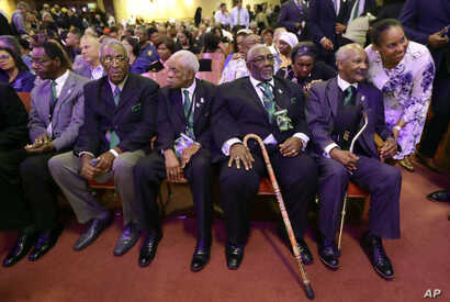 Five men who took part in the Memphis sanitation workers strike in 1968 wait for a ceremony to begin at the Mason Temple of the Church of God in Christ, April 3, 2018, in Memphis, Tenn. From left are Cleophus Smith, Ozell Eual, Elmore Nickleberry, Ba...