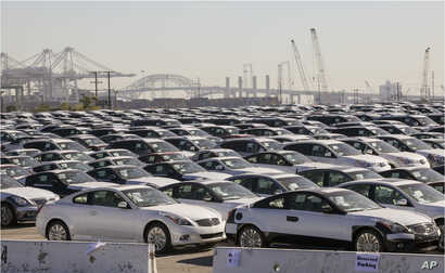 FILE - Japanese imported autos lined up at a Los Angeles Port terminal in Los Angeles, Jan. 16, 2013. President Donald Trump says he is considering steep tariffs on imported autos, most of which come from U.S. allies.
