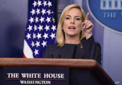Department of Homeland Security Secretary Kirstjen Nielsen speaks during the daily briefing at the White House in Washington, June 18, 2018.