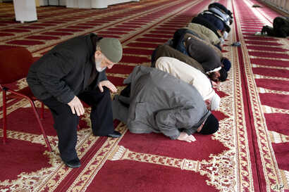 FILE - Muslim worshippers pray in the prayer hall of the Polder Mosque in Amsterdam, Netherlands, Feb. 18, 2010.
