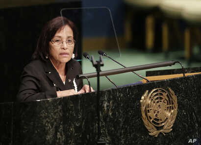Hilda Heine, President of Marshall Islands, addresses the United Nations High-level Thematic Debate on Achieving the Sustainable Development Goals, at U.N. headquarters, April 21, 2016.