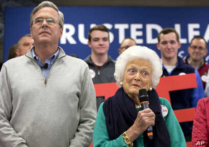 FILE - Barbara Bush, mother of Republican presidential candidate Jeb Bush, introduces her son at a town hall meeting in Derry, N.H., Feb. 4, 2016. The Republican campaign for the nomination because nasty early on, with multiple candidates hurling ins...