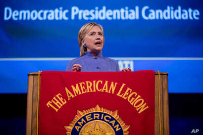 Democratic presidential candidate Hillary Clinton speaks at the American Legion's 98th Annual Convention at the Duke Energy Convention Center in Cincinnati, Ohio, Wednesday, Aug. 31, 2016.