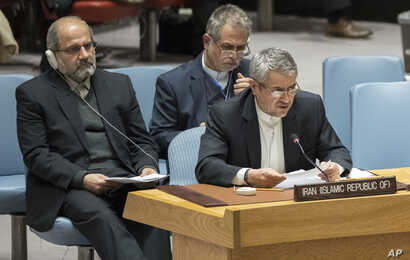 Iranian Ambassador to the United Nations Gholamali Khoshroo, front, speaks during a Security Council meeting on the situation in Iran, Jan. 5, 2018, at United Nations headquarters in New York.