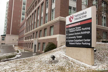 A view of the emergency entrance at the Nebraska Medical Center Biocontainment Unit in Omaha, Neb., Nov. 15, 2014.