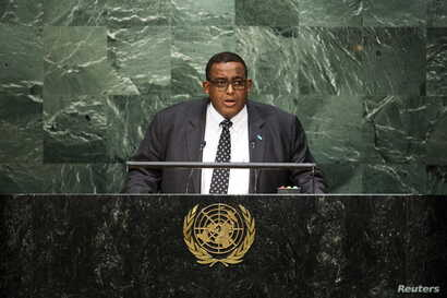 Somalia Prime Minister Omar Abdirashid Sharmarke addresses the United Nations General Assembly at the U.N. Headquarters in New York, Oct. 1, 2015.