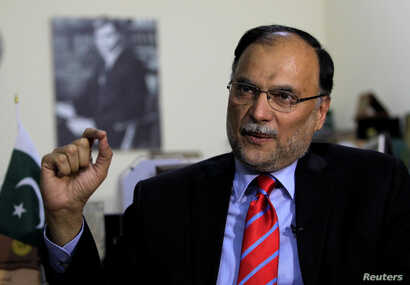 Ahsan Iqbal, Pakistan's minister of planning and development speaks with Reuters in Islamabad, Pakistan, June 12, 2017.