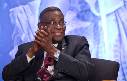Ghana President John Atta Mills attends the Symposium on Global Agriculture and Food Security at the Chicago Council on Global Affairs, Friday, May 18, 2012, at the Ronald Reagan Building in Washington.