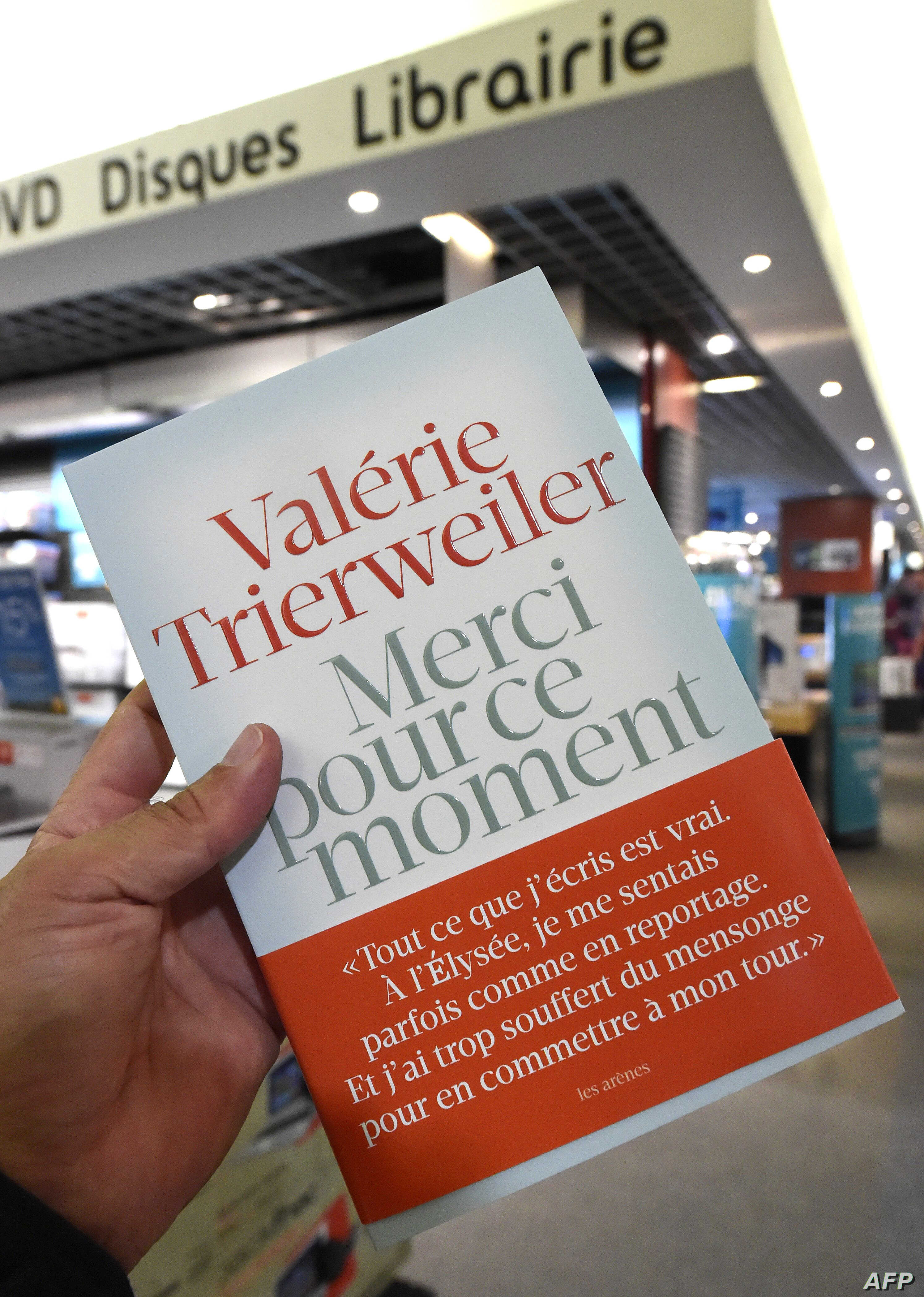 """The book of French President former partner Valerie Trierweiler entitled """"Merci pour ce moment"""" (Thanks you for this moment) some hours after its release in a Montpellier bookstore, Sept. 4, 2014."""