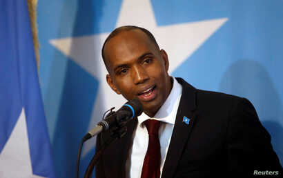 FILE - Somalia's Prime Minister Hassan Ali Khaire addresses lawmakers during a parliament session in the capital Mogadishu, March 1, 2017.
