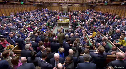 British MPs prepare to vote for the Brexit deal in Parliament in London, Britain, March 12, 2019, in this screen grab taken from video.