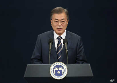 South Korean President Moon Jae-in speaks during a press conference at the presidential Blue House in Seoul, South Korea, May 27, 2018. Moon said North Korean leader Kim Jong Un remained committed to holding a summit with President Donald Trump and t...