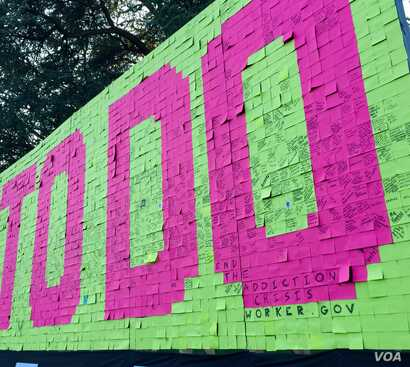 n this exhibit at the White House SXSL festival, people used sticky notes to share how they planned to make a positive contribution to their communities. (M. Salinas/VOA)