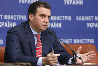 Ukraine's Economy Minister Aivaras Abromavicius speaks during a news conference in Kyiv, Dec.10, 2014.