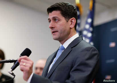 U.S. House Speaker Paul Ryan (R-WI) speaks to reporters ahead of an expected vote in the Republican-led U.S. House of Representatives on a short-term budget measure that would avert a rerun of last month's three-day partial government shutdown, on Ca...