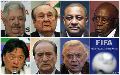 A combination of file pictures made on May 27, 2015 shows Fifa officials (LtoR, from upper row) Rafael Esquivel, Nicolas Leoz, Jeffrey Webb, Jack Warner, Eduardo Li, Eugenio Figueredo and Jose Maria Marin