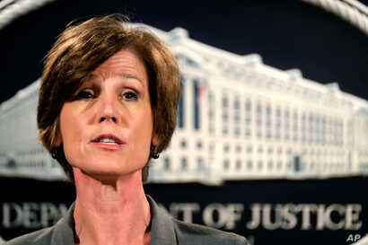 FILE - Deputy Attorney General Sally Yates speaks during a news conference at the Justice Department in Washington, June 28, 2016.