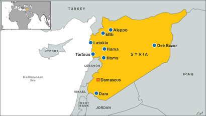 Syria map, several cities