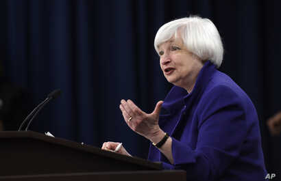 Federal Reserve Chair Janet Yellen answers a question during a news conference in Washington, Dec. 16, 2015, following an announcement that the Federal Reserve raised its key interest rate by quarter-point.