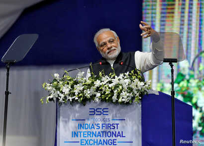 ndia's Prime Minister Narendra Modi delivers a speech after he inaugurated the country's first international exchange in Gandhinagar, India, Jan. 9, 2017.