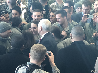 After his speech, U.S. Vice President Mike Pence speaks to the troops gathered in a hangar at Yokota Air Base Japan, Feb. 8, 2018. The crowd was estimated at 500.