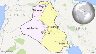 Map of Iraq showing provinces of al-Anbar and Nineveh
