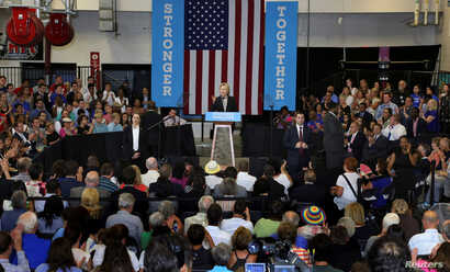 Democratic presidential candidate Hillary Clinton speaks at a campaign rally in Columbus, Ohio, June 21, 2016.