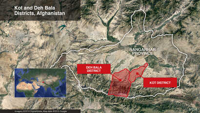 Map showing the Kot and Deh Bala districts in Nangarhar Province, Afghanistan.