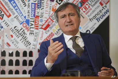 Venice Mayor Luigi Brugnaro speaks to foreign media about the pressures the city is facing from tourism and rising seas, in Rome, March 14, 2019.