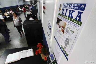A government campaign poster informing about Zika virus symptoms is seen at the maternity ward of a hospital in Guatemala City, Guatemala, Jan. 28, 2016.