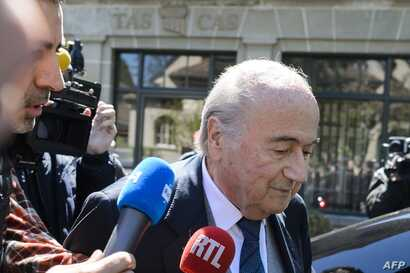 Former FIFA president Sepp Blatter leaves the Court of Arbitration for Sport during the appleal of Michel Platini's against his six-year FIFA ban for ethics violations on April 29, 2016 in Lausanne.