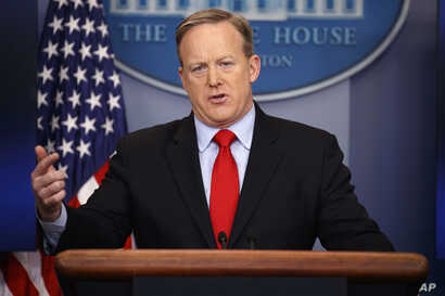 White House press secretary Sean Spicer answers a question during the daily press briefing at the White House, Feb. 3, 2017.