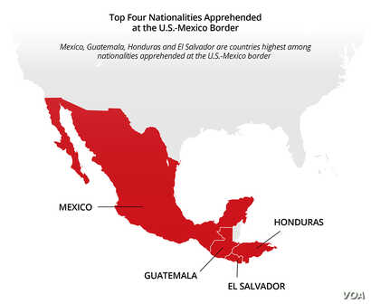 Map: Top Four Nationalities Apprehended at the US-Mexico Border