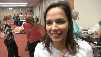 Former Bernie Sanders supporter Veronica Triagle says she thinks the Green Party can attract many of young voters for whom the student loan debt issue is a major concern. (G. Flakus/VOA)